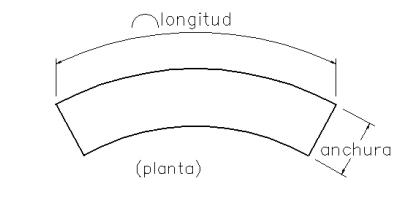 bordillo curvo dimensiones