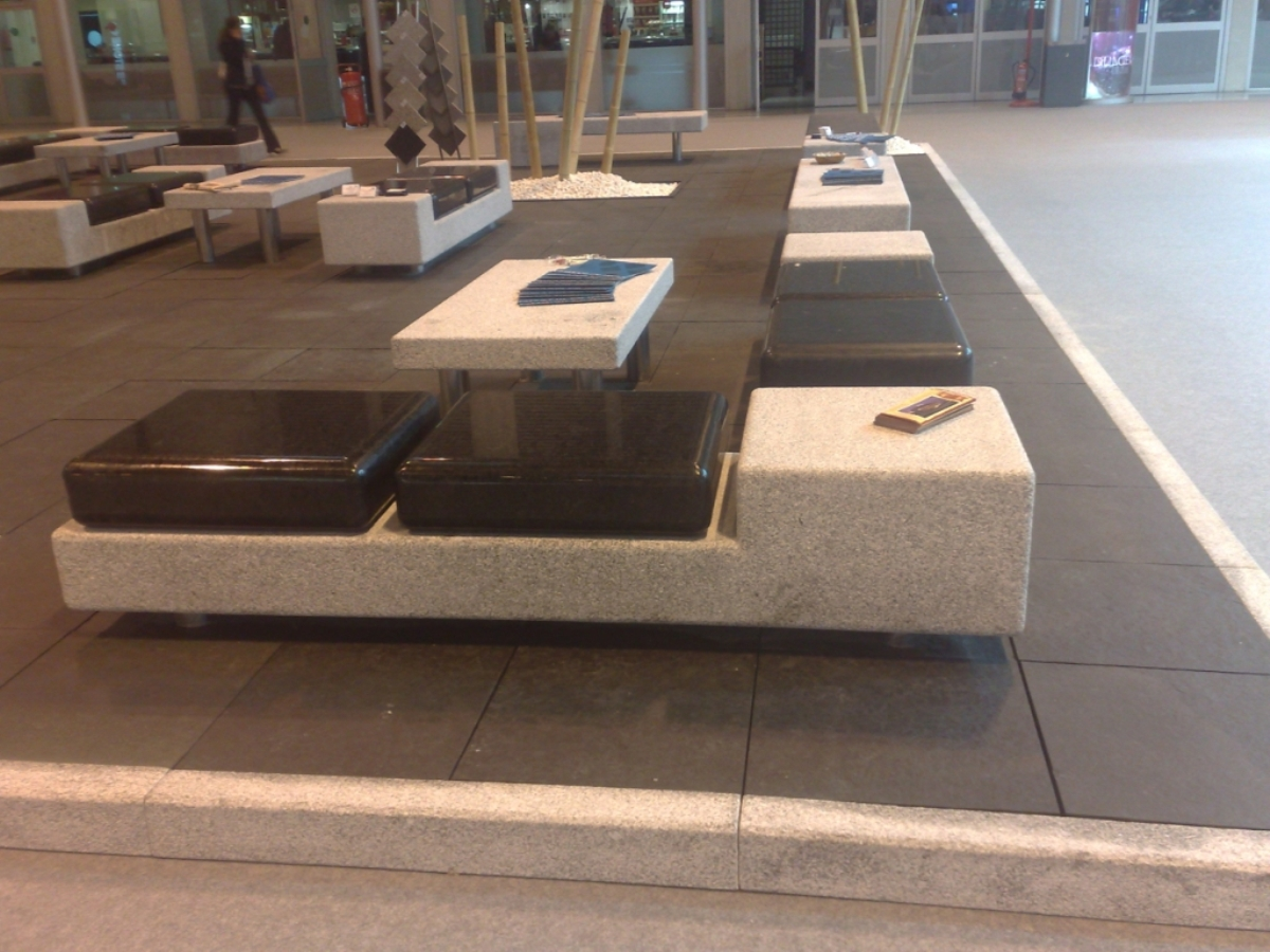 Benches showed at Stone Trade Fair.