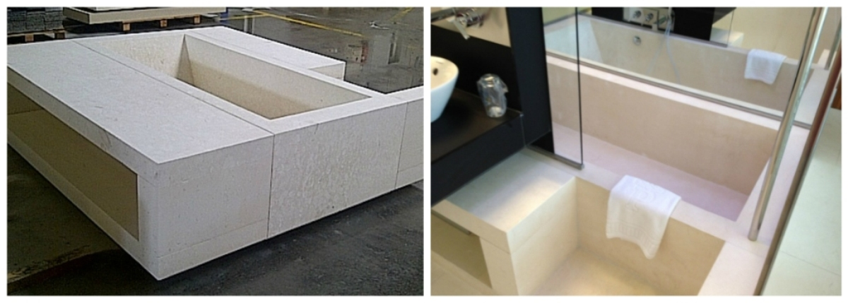 Preassembly made at the workshop of the set which includes the solid bath piece.-parador-nacional-cádiz