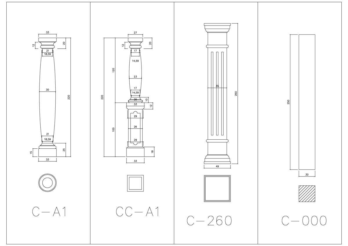 Some models of columns.